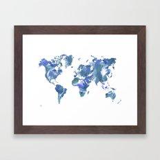 Watercolour World Map (blue/green/white) Framed Art Print