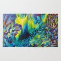 FLIGHT ON TAP - Whimsical Colorful Feathers Fountain Peacock Abstract Acrylic Painting Purple Teal Rug