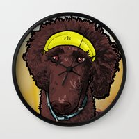 Wall Clock featuring Hobbes (poodle) by BinaryGod.com