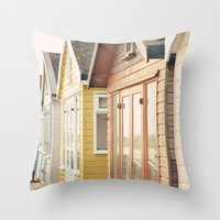 English Beach Huts Throw Pillow