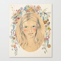 Girl with flower frame Canvas Print