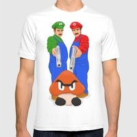 Super Bundock Bros Mens Fitted Tee White SMALL