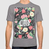 Pastel preppy flowers Hello typography chalkboard Mens Fitted Tee Tri-Grey SMALL