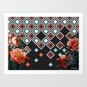 Geo & Flowers Art Print
