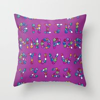 Pills Font Throw Pillow