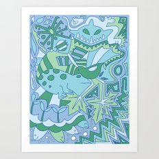 Abstract Animals - Blue and Green  Art Print