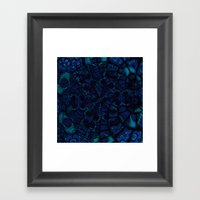 Blue Nightmare Fractal Framed Art Print