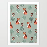 Fox Woods Art Print