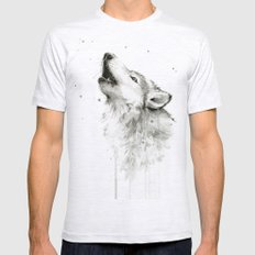 Wolf Howling Watercolor Wildlife Painting Mens Fitted Tee Ash Grey SMALL