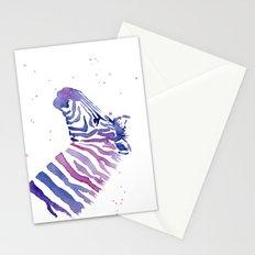 Zebra Watercolor Purple Stripes Stationery Cards
