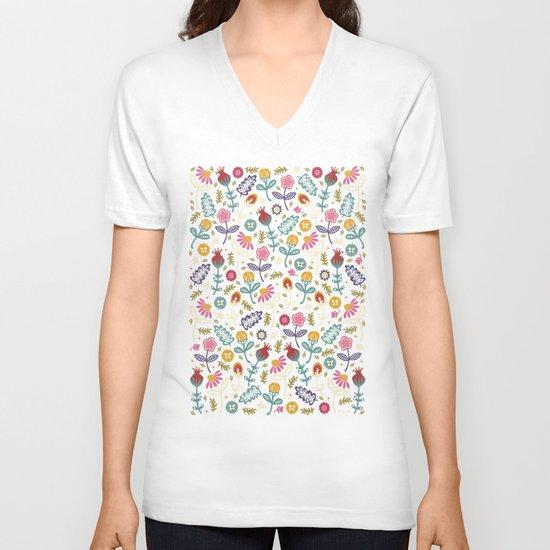 Ditsy Flowers V-neck T-shirt