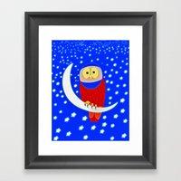 Owl lands on the moon Framed Art Print