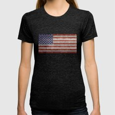 The United States of America Flag, Authentic 10:19 G-spec Desaturated version Womens Fitted Tee Tri-Black SMALL