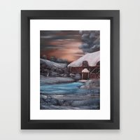 Chocolate Box Cottage in Winter Framed Art Print