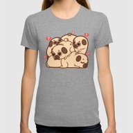 Puglie Grumblie Womens Fitted Tee Tri-Grey SMALL