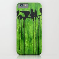 iPhone & iPod Case featuring Urban Birds - Birds on a Wire by Liz Moran