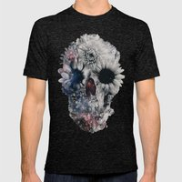 Floral Skull 2 Mens Fitted Tee Tri-Black SMALL