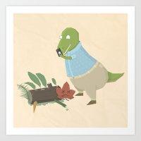 Hipster Dinosaur Instagr… Art Print