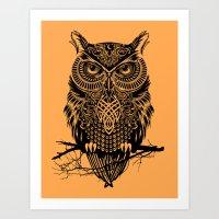 owl Art Prints featuring Warrior Owl 2 by Rachel Caldwell