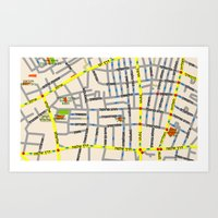 Tel Aviv Map Design - Fl… Art Print