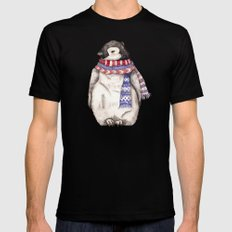 Baby Penguin in Red and Blue Scarf. Winter Season SMALL Mens Fitted Tee Black