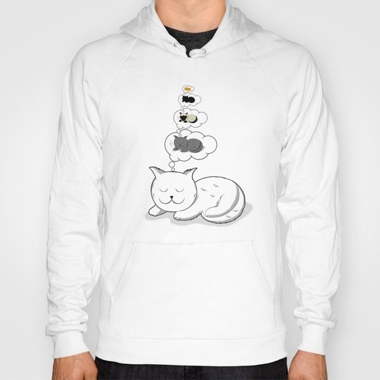 A cat dreaming of a cat that dreams of dreaming of a cat that dreams of dreaming of a cat. Hoody