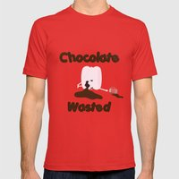 Chocolate Wasted (blue) Mens Fitted Tee Red SMALL