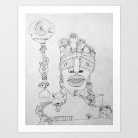 Face Balloon Art Print