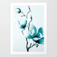 Mono Magnolia Art Print