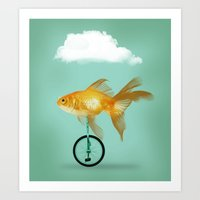 unicyle goldfish III Art Print