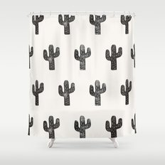 Stamped Cactus Shower Curtain