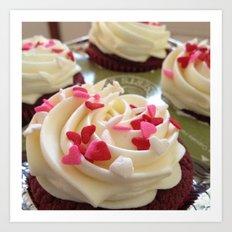 Cupcakes & Hearts Art Print