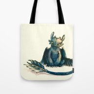 Tote Bag featuring Toothless by Alice X. Zhang
