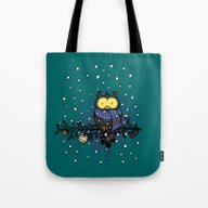 Owl In The Snow Tote Bag