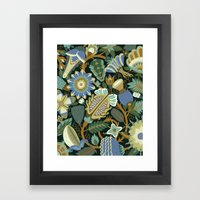 Flower Fantasy in blue Framed Art Print