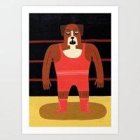 Dog Wrestler Art Print