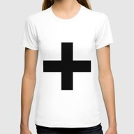 Black Plus On White /// … Womens Fitted Tee White SMALL
