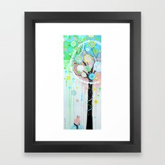 Hello Pink Kitty Tree Framed Art Print