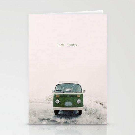 LIVE SIMPLY. Vintage Volkswagen Van.  Stationery Card