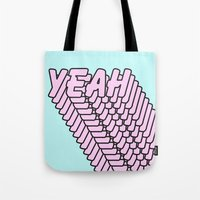 YEAH Typography Pink Blue Tote Bag