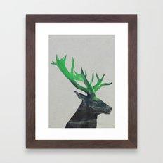 Deer In The Aurora Borea… Framed Art Print