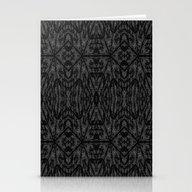 Slate Gray Black Pattern Stationery Cards