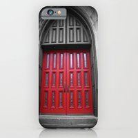 iPhone & iPod Case featuring Red Door Black and White Photography by ginaphoto
