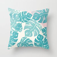 Linocut Monstera Rosy Throw Pillow