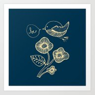 Art Print featuring Be In Blue Print by Sylvie Demers