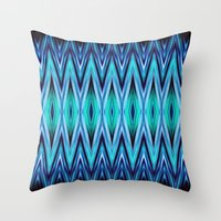 Abstract Blue Teal Zigza… Throw Pillow