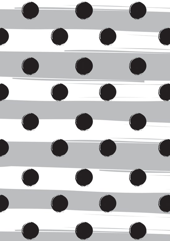 BLACK DOTS MEET WHITE STRIPES Art Print