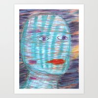 Plaid Head Art Print