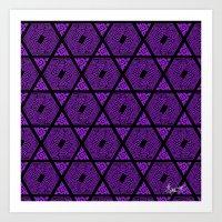 Kagome Greek Fret ... Purple Art Print