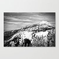 Snowy Mountain Peak Black and White Canvas Print